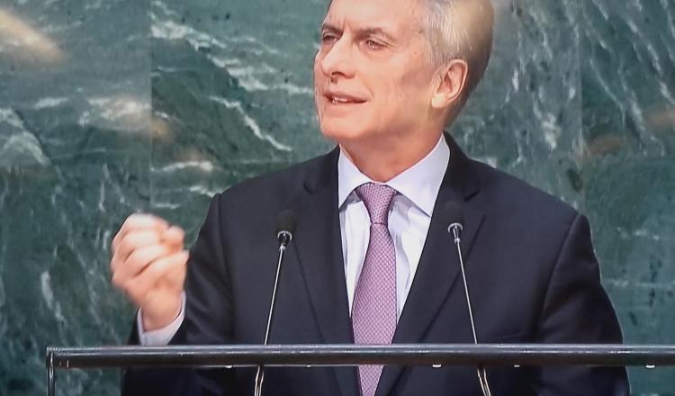 Presidente Macri durante el debate de la Asamblea General